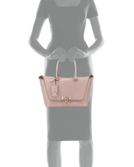 Demilune Small Vitello Lux Leather Double-Handle Satchel Bag