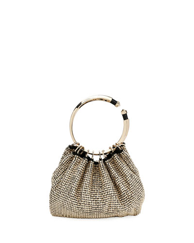Bebop Ring Loop-Handle Clutch Bag, Gray