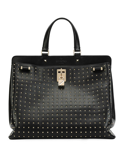 Joy Lock Rockstud Vitello Handbag, Black