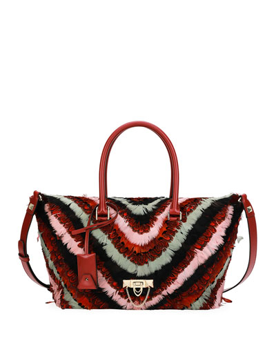 Demilune Medium Feather Top-Handle Bag
