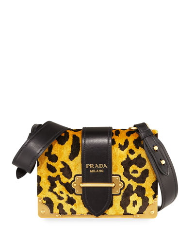 Velvet Animalier Cahier Shoulder Bag, Leopard