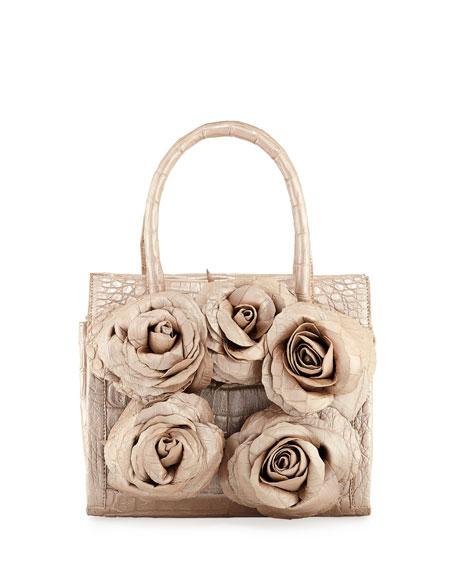 Nancy Gonzalez Rosebud Frame Crocodile Tote Bag
