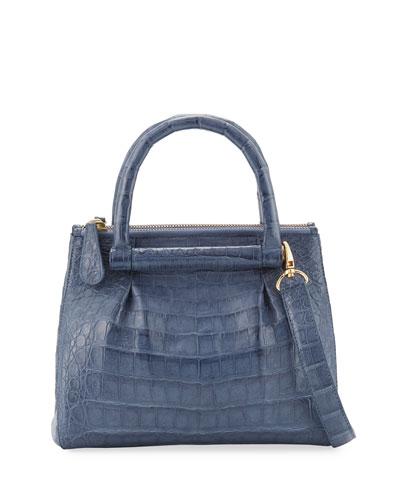 New Mini Plisse Crocodile Crossbody Bag