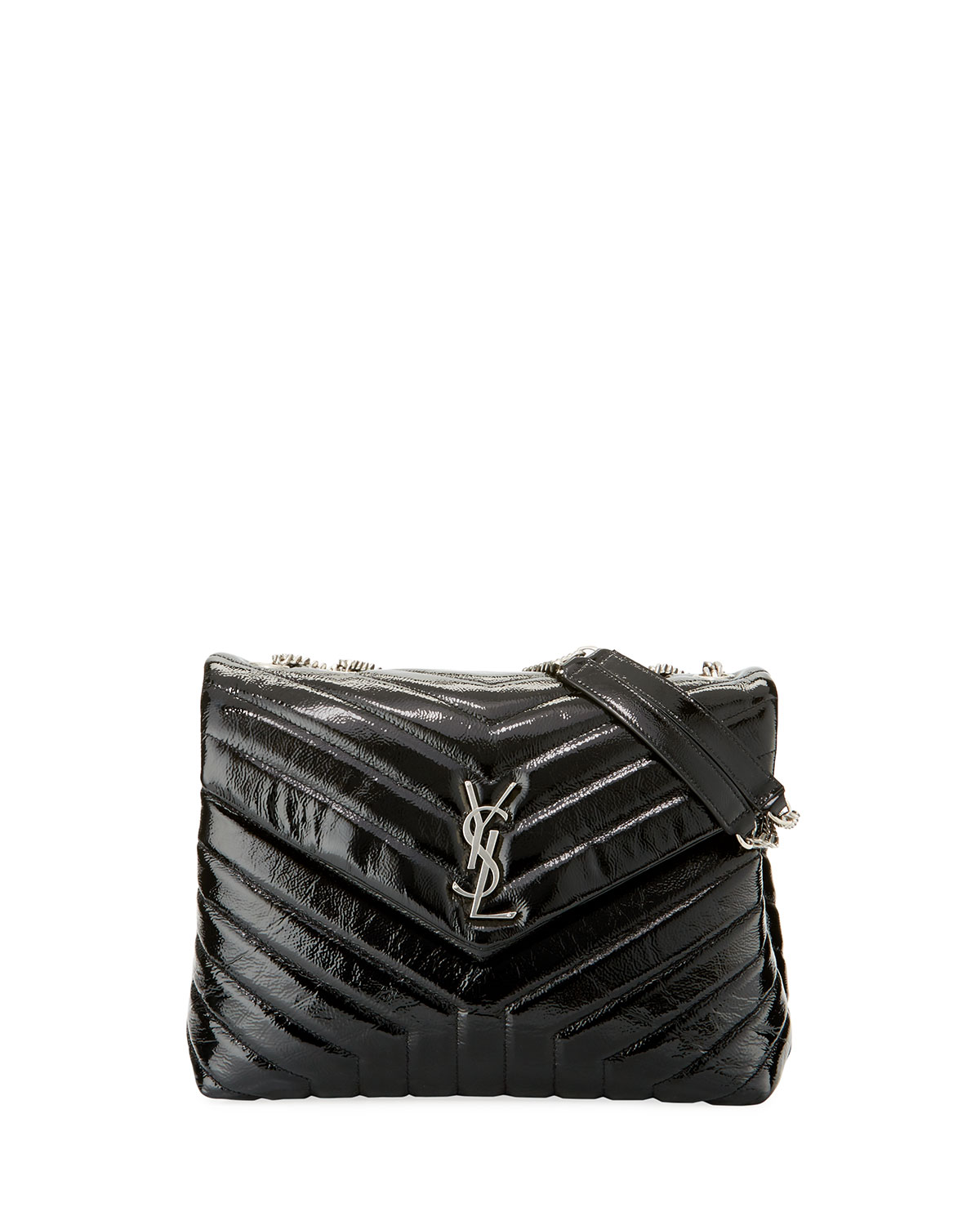 Saint Laurent Loulou Monogram Medium Y-Quilted Patent Chain Bag ... a1ea8f6f94