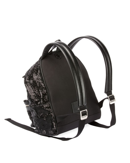 Mini City Paillette-Embroidered Backpack, Black