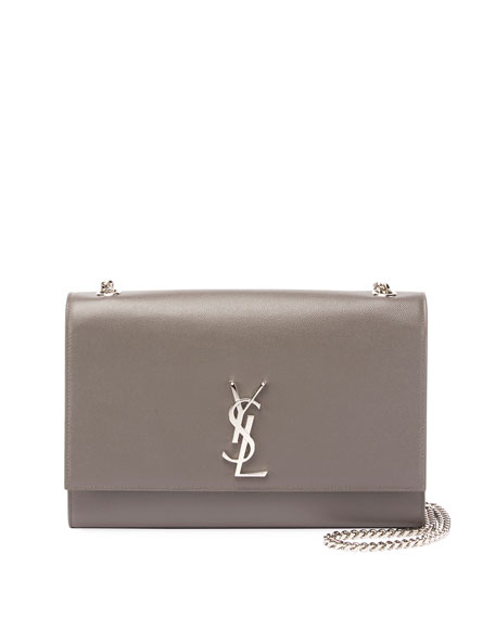 Kate Monogram Large Chain Grain Leather Shoulder Bag, Gray