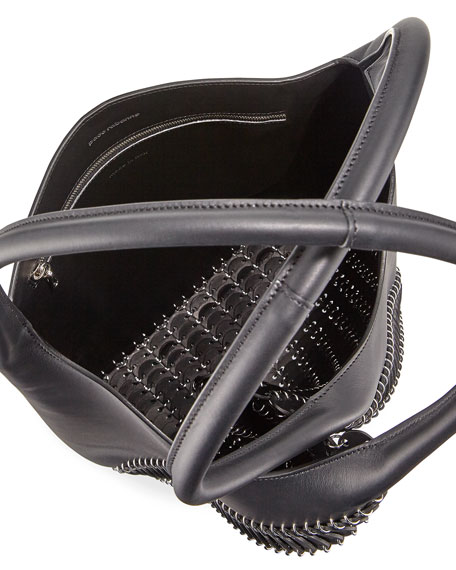 Pliage Medium Leather Tote Bag, Black