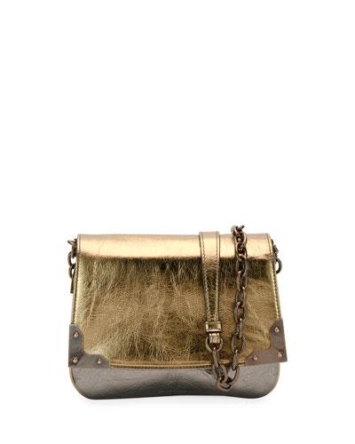 Aged Metallic Leather Shoulder Bag