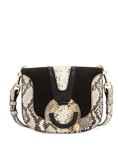 See by Chloe Hana Medium Ring Snake-Print Saddle