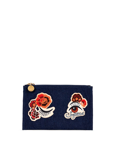 Andy Winking Applique Flat Pouch Bag