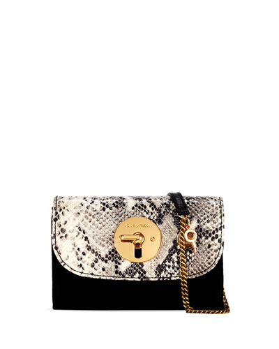 Lois Long Flap Mini Leather/Faux-Snake Shoulder Bag