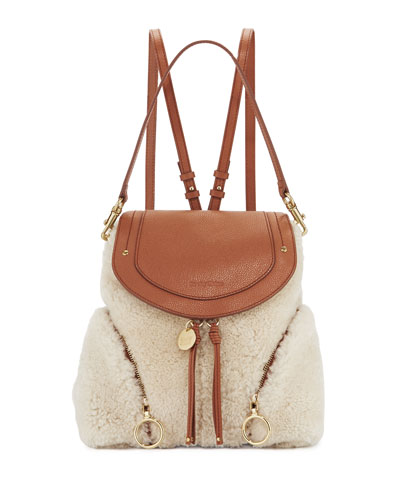 Olga Large Zip Side Shearling Fur Backpack