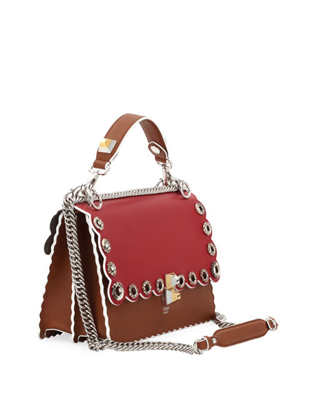 Kan I Leather Shoulder Bag with Snakeskin Grommets