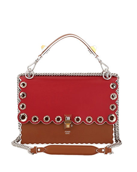 Fendi Kan I Leather Shoulder Bag with Snakeskin