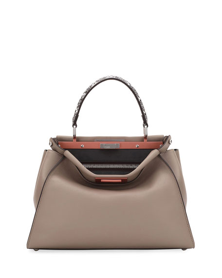 Fendi Peekaboo Medium Leather Snake-Handle Satchel Bag