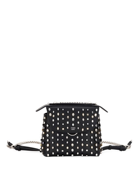Fendi Back To School Crystal-Studded Mini Backpack/Crossbody Bag