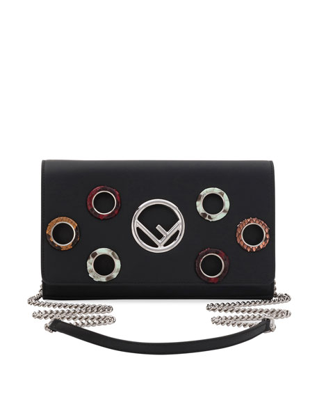 Fendi Seal Snake-Grommet Leather Wallet On A Chain
