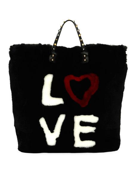 Beatrice DG 4 Ever Fur Tote Bag, Black/Multi