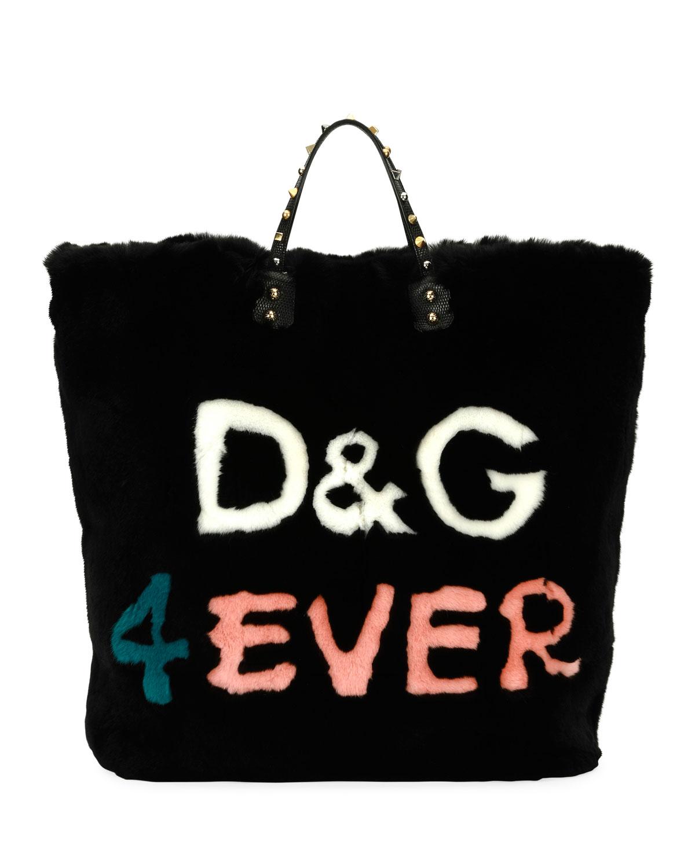 Dolce   Gabbana Beatrice DG 4 Ever Fur Tote Bag, Black Multi ... dd1abb3c0c