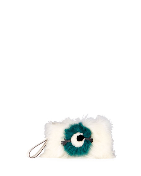 Anya Hindmarch Furry Eye Shearling Fur Clutch Bag
