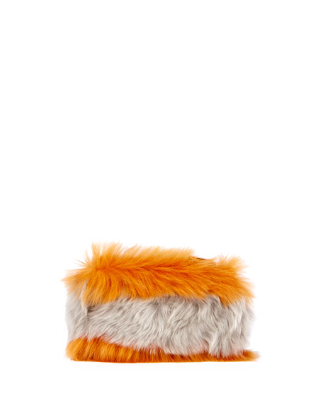 Furry Eyes Striped Clutch Bag