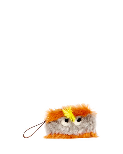 Furry Eyes Striped Clutch Bag