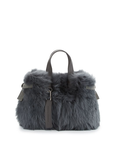 Shearling Fur Tote Bag with Leather Trim