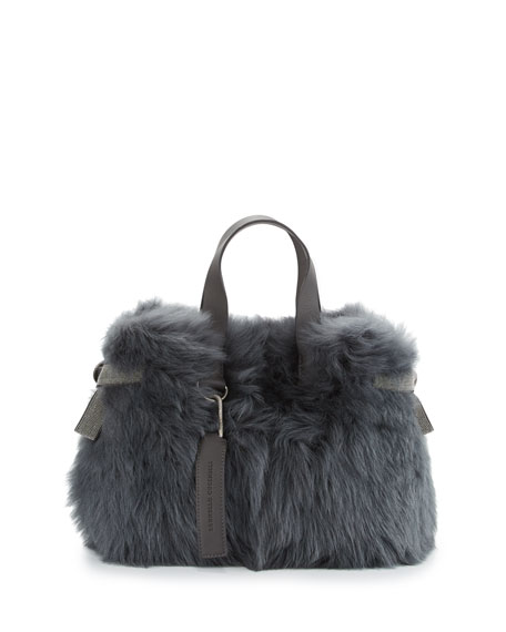 Brunello Cucinelli Shearling Fur Tote Bag with Leather