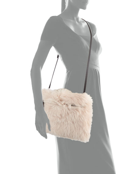 Shearling Large Zip Pouch Bag