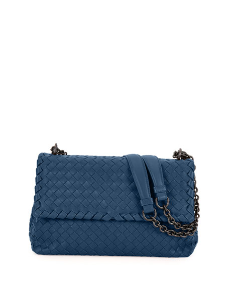 Olimpia Small Intrecciato Shoulder Bag, Pacific Blue