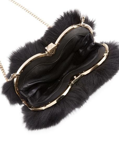 Fur Heart-Shaped Shoulder Bag, Black