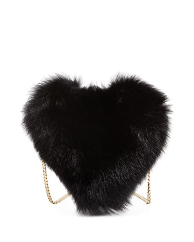 Fur Heart-Shaped Shoulder Bag, Black