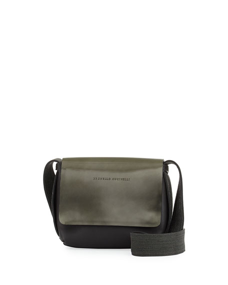 Brunello Cucinelli Small Mirrored Leather Crossbody Bag, Green