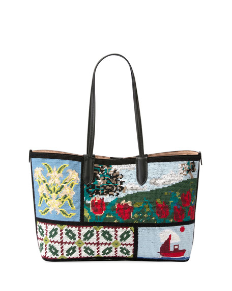 Alexander McQueen Small Tapestry Patchwork Shopper Tote Bag