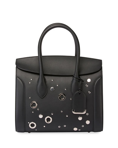Heroine 35 Studded Leather Shopper Tote Bag, Black
