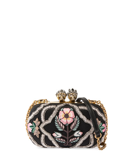 Queen & King Skull Embroidered Box Clutch Bag