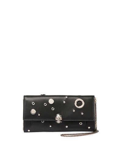 Studded Leather Wallet On a Chain, Black