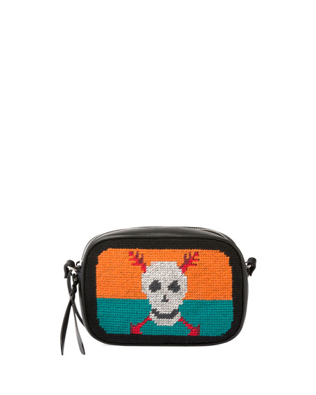 Alexander McQueen Skull Tapestry Small Zip Camera Bag