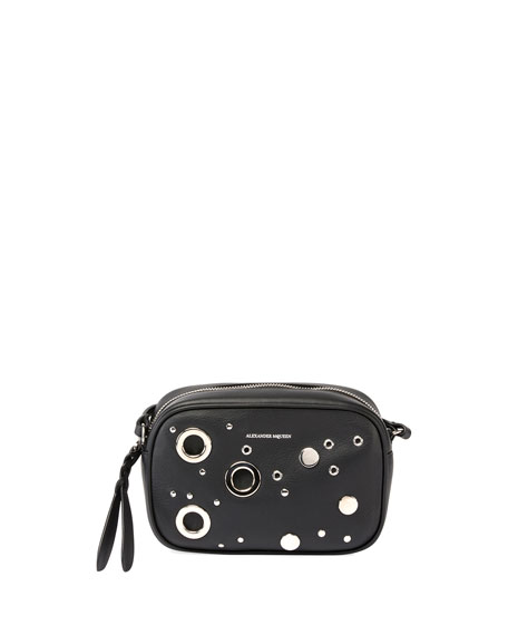 Alexander McQueen Small Leather Camera Bag, Black