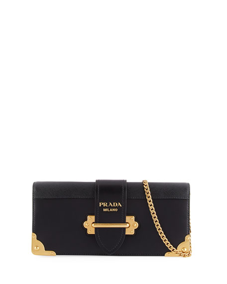 Prada Cahier Calf Flap-Top City Clutch Bag