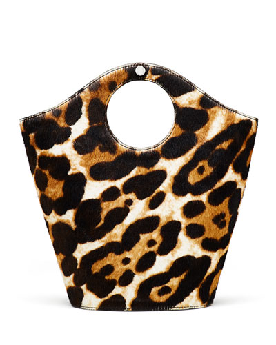 Market Shopper Small Cow Hair Satchel Bag, Leopard