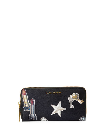 Marc Jacobs Tossed Charms Saffiano Continental Wallet