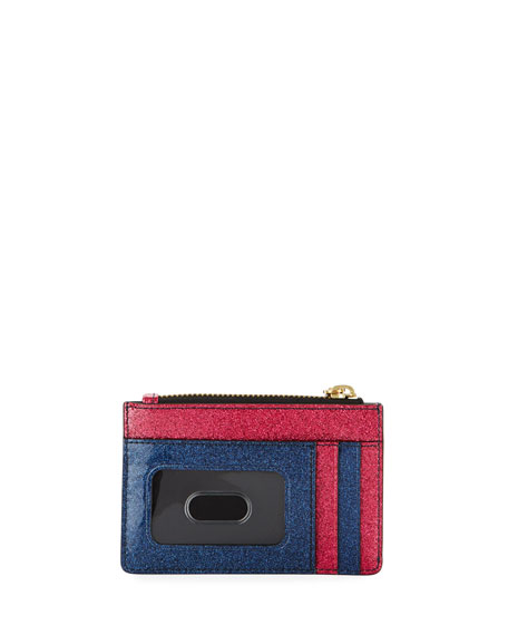 Striped Glitter Zip Wallet