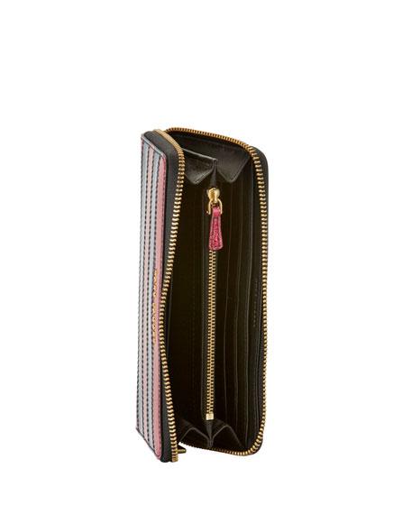 Striped Glitter Continental Wallet