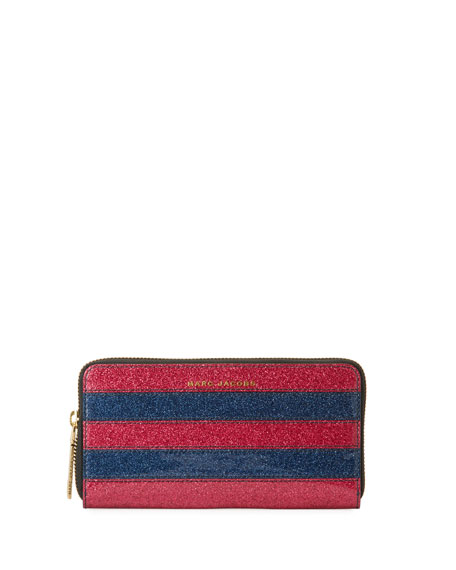 Marc Jacobs Striped Glitter Continental Wallet
