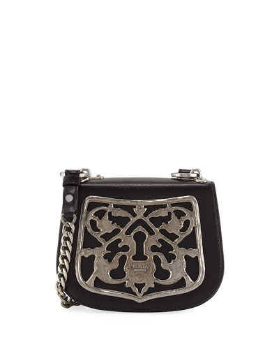 Piastra Metal Filigree Key Lock Crossbody Bag