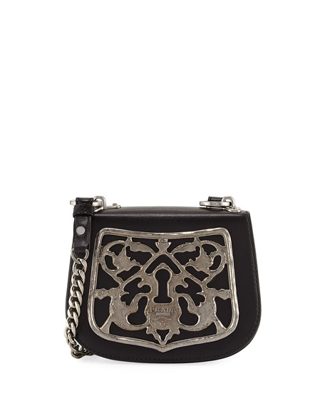 Prada Piastra Metal Filigree Key Lock Crossbody Bag