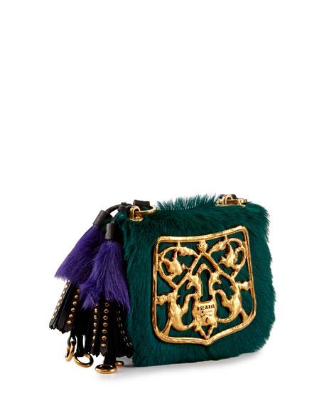Multicolor Calf Hair Crossbody Bag, Blue/Black