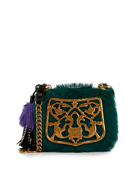 Prada Multicolor Calf Hair Crossbody Bag, Blue/Black