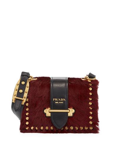 35a81c9d35df23 Prada Cahier Small Colorblock Calf Hair Shoulder Bag